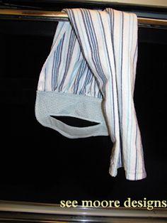 Hot Flash'n Craft'n: Easy Hanging Towel Tutorial – Towel hanger diy Easy Sewing Projects, Sewing Hacks, Sewing Tutorials, Sewing Crafts, Fabric Crafts, Sewing Patterns, Dish Towel Crafts, Dish Towels, Tea Towels