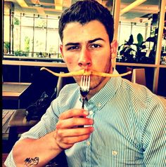Nick Jonas likes to wear his veggies.