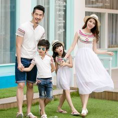 >> Click to Buy << Family matching outfits summer mother and daughter dress sundress chiffon dress boys collar t-shirt totem white family look #Affiliate