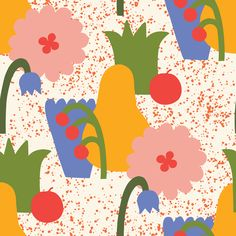"""""""MILD SUMMER"""" Graphic Collection it's a set of 100 floral and fruits shapes, 5 posters, 8 abstract collages and 16 seamless patterns. This graphic collection"""