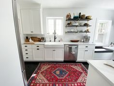Dream Kitchen Tour with open shelving full height quartz backsplash and countertop. For more visit Galley Style Kitchen, Kitchen Design, Farmhouse Style Rugs, White Kitchen Inspiration, Floor To Ceiling Cabinets, Quartz Backsplash, Kitchen Banquette, Style Pantry, Butcher Block Countertops