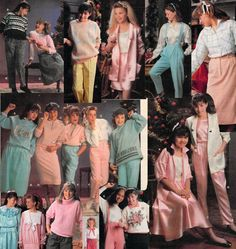 1987 Canadian Sears Christmas catalog - girls' fashions: I had the satin pink shirt and skirt. I looked like a walking bottle of Pepto!
