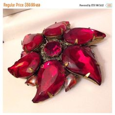 Vintage Bronze Tone Red AB Rhinestone Star Fire Flower Pin Brooch (€36) via Polyvore featuring jewelry, brooches, rhinestone brooches, rhinestone jewelry, red brooch, red jewellery and star brooch