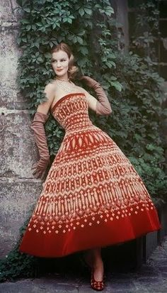 1955 Christian Dior, Paris - Dior Red Dress with Lavish Gold Embroidery - Photo by Mark Shaw - https://www.1stdibs.com/art/photography/color-photography/mark-shaw-dior-red-dress-lavish-gold-embroidery/id-a_84600/