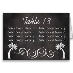 Chalkboard Palm Tree Beach Wedding Table Seating Cards