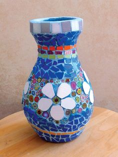 Mosaic vase with polymer clay flowers