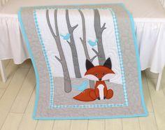 Fox edredón del manta, edredón de crianza Animal, bebé muchacho, niño cuna lecho, bosque manta Aqua gris, hecho a medida