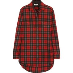 Saint Laurent Plaid wool shirt ($1,350) ❤ liked on Polyvore featuring tops, shirts, red plaid shirt, plaid button-down shirts, button top, tartan plaid shirt and wool tops