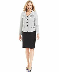 Le Suit Tweed Brooch Jacket Skirt Suit