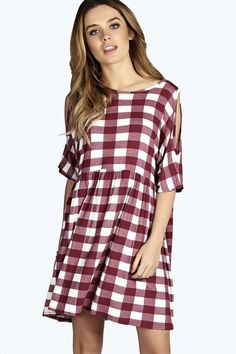 Lona Large Gingham Open Shoulder Smock