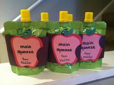 Apple sauce squeeze pouch valentines for M's preschool class.