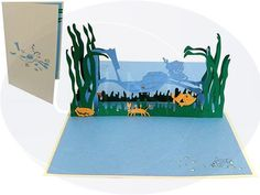 Aufklappbare POP UP Geburtstagskarte mit Taucher. Mehr entdecken auf: www.lin-popupkarten.de Pop Up 3d, Pop Up Karten, Birthday Cards, Best Gifts, Stationery, Greeting Cards, Presents, Frame, Current Events