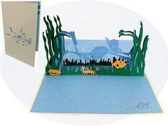Aufklappbare POP UP Geburtstagskarte mit Taucher. Mehr entdecken auf: www.lin-popupkarten.de