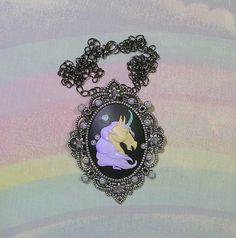 ♥ unicorn necklace, unicorn cameo pendant, gothic lolita necklace, pastel goth necklace, steampunk necklace, victorian jewelry, goth necklace, gothic lolita jewelry, pastel goth necklace ♥  https://www.etsy.com/shop/starlightsparkles