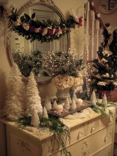 Beautiful shabby chic Christmas display