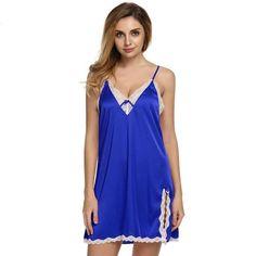 a1e2cdbb5c Summer Sexy Silk Satin Nightgown Sleepwear Women Floral Lace Slit  Nightdress Nightwear Sleepdress Home Sleepshirts Night Gown L2