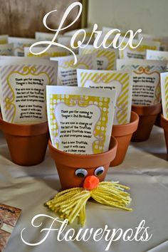 Dr. Seuss Day 2015 - Lorax Style, Dr. Seuss Day.  Dr. Seuss Day 2015.  Dr. Seuss Day parties.  Dr. Seuss Day fun.  Dr. Seuss birthday party, Lorax flower pot activity, Lorax crafts