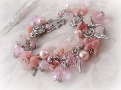Chunky Charm bracelet, Ros quartz, Pink Opal, Rhodocrosite, wiccan,pagan,witch,metaphysical,crystals