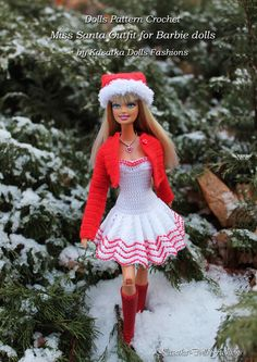 KasatkaDollsFashions: Мастер-класс по вязанию для кукол Барби: наряд Мисс Санта