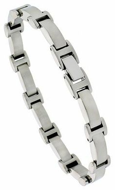 Stainless Steel Solid Link Bracelet 5/16 inch wide, 8 inch long Sabrina Silver. $31.80. Save 50% Off!