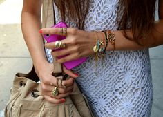fashion, rings and i phone image on We Heart It Fashion Bracelets, Fashion Rings, Cute Fashion, Boho Fashion, Fashion Beauty, Arm Party, Favim, City Style, Pretty Outfits