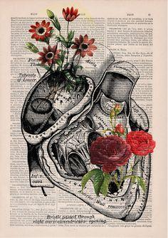 Christmas Sale Flowery Heart human Anatomy Print on by PRRINT