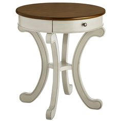 Inspired by a French Country aesthetic, our Marchella Accent Table is finished, glazed and distressed, giving it the rustic yet sophisticated character that makes this style a perennial favorite. It has a drawer for convenient storage and coordinates beautifully with our Marchella Dining Table (sold separately) or your own eclectic mix of furnishings. It's the perfect size for placing next to a sofa, armchair or bed, and it works great as a planter stand, too.
