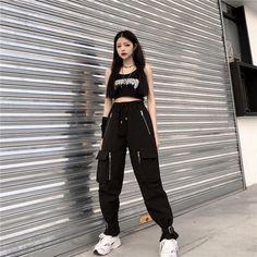 Egirl Fashion, Korean Girl Fashion, Korean Street Fashion, Fashion Outfits, Bad Girl Outfits, Swaggy Outfits, Cool Outfits, Black Combat Trousers, Aesthetic Clothes