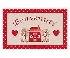 Zerbino in cocco Home Sweet Home beige e rosso - cm Beige, Advent Calendar, Sweet Home, Fantasy, Holiday Decor, Frame, Cards, Home Decor, Picture Frame