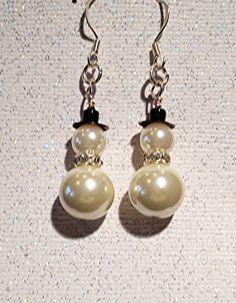 Pearl & Crystal Snowmen Earrings by ButterflyCreekJewels on Etsy, $15.00