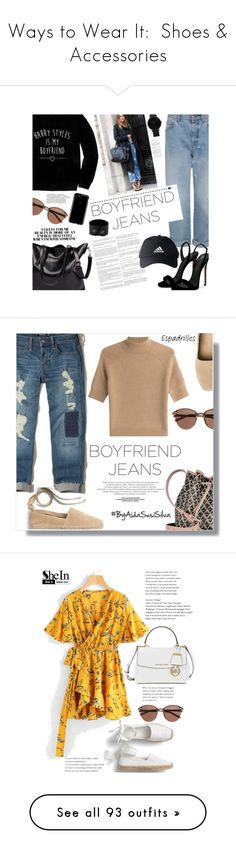 """""""Ways to Wear It:  Shoes & Accessories"""" by jzanzig ❤ liked on Polyvore featuring accessories, eyewear, sunglasses, glasses, eyes, glasses/sunglasses, lens glasses, round lens sunglasses, round sunglasses and round frame glasses"""