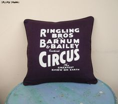 Circus Sideshow aubergine pillow cover decorative by SpookyShades, Purple Cushion Covers, Purple Cushions, Black Cushions, Grey Pillows, Decoration Cirque, Circus Decorations, Decorative Pillow Covers, Throw Pillow Covers, Throw Pillows