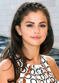 Selena Gomez Braided Half Up Half Down Hairstyle