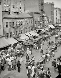 "click thru for awesome enlargement. New York City circa 1900. ""Jewish market on the East Side."""