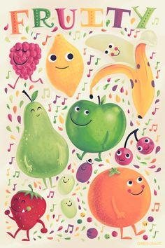 Fruity Art Print by Greg Abbott Fruit Illustration, Food Illustrations, Greg Abbott, Fruit Of The Spirit, Food Art, Character Design, Doodles, Kawaii, Art Prints