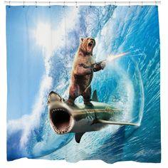 Shark Bear Shower Curtain - Extra Long - 71x90