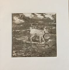 Copper plate hard ground etching with aquatint. Intaglio printing.