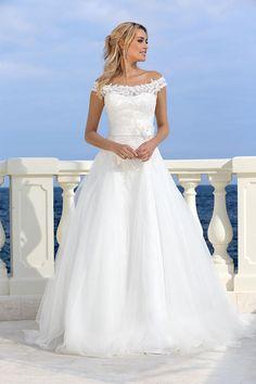 Taft en Tule, Bruidsjapon Romantische trouwjurk, Parels en Pailletten