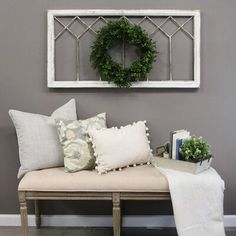Windowpane design in distressed white finish. Embrace a rustic image with this window panel wall decor. Triangle hook for easy hanging. Wooden Wall Decor, Wooden Walls, Diy Wall Decor, Home Decor, Family Wall Decor, White Wall Decor, Bench Decor, Window Frame Decor, Window Ideas