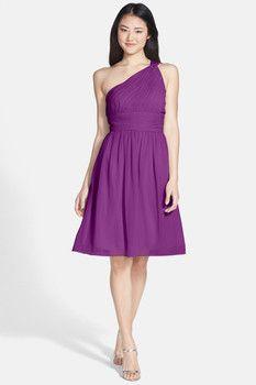 Donna Morgan Rhea One-Shoulder Chiffon Dress (Plus Size)