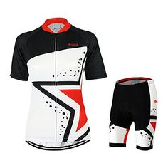 Womens QuickDry Short Sleeve Cycling Jersey Moutain Bike Riding Sets  ASUO108 Black And Red M  gt. Cycling ShortsCycling JerseysCycling ... 52e4443b6