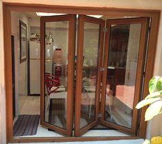 Puertas Plegables   Sisvent Asian House, Thai House, Wooden Door Knobs, Wooden Doors, Door Design, House Design, Barn Renovation, Enclosed Patio, Folding Doors