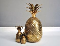 "Mid-Century 12"" Brass Pineapple Container or Ice Bucket"