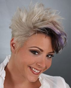 short blonde straight spikey coloured hairstyles for women