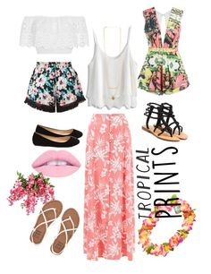 """""""Untitled #49"""" by amuh2002 on Polyvore featuring New Look, Posh Girl, Miguelina, Mystique, Chicwish, Billabong, tropicalprints and hottropics"""