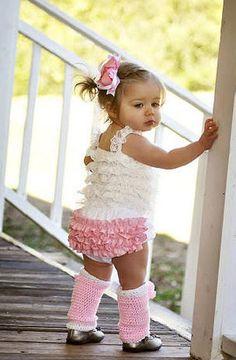 Cute love the crocheted leggings and ruffled diaper cover