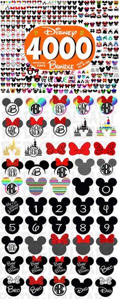 Police de DISNEY Svg BUNDLE fichiers Svg Disney Minnie Svg Mickey & souris oreilles Disney, monogrammes, Mickey Mouse coupe fichiers, Cricut, Silhouette. 4000