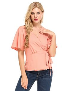 Zeagoo Women's V-Neck Short Sleeve Waist-tie Chiffon Stitching Shirt Blouse   Special Offer: $9.99      122 Reviews Specifications: Zeagoo design brings a layered look without the bulk. Sexy deep v neck waist tie wrap front t shirt with ruched design. Ruffle sleeve and swing hem...