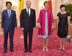 Queen Mathilde and King Philippe met with Prime Minister Shinzo Abe and his wife Akie Abe