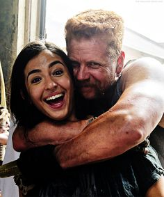 Alanna Masterson & Michael Cudlitz on set of S5